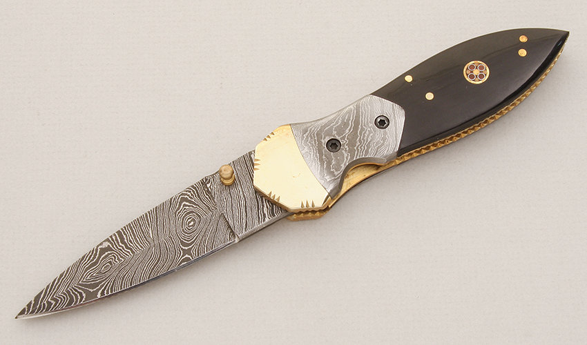 Unknown Maker Damascus Folding Dagger
